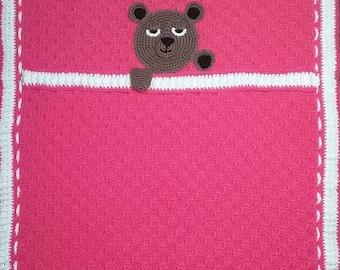 Pattern Nap Time Bear Baby Blanket Crochet Pattern PDF free shipping