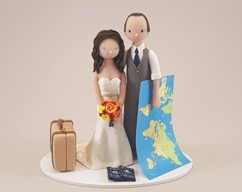 Unique Cake Toppers - Bride & Groom Custom Made Travel Theme Wedding Cake Topper