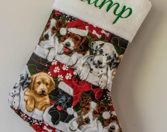 Personalized Christmas Stocking for the Dog - Red Chistmas Pup Fabric!