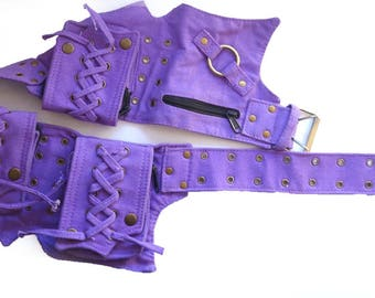 Canvas Utility Belt   Purple, 5 pockets   travel, cosplay, festival