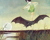 Childrens Fairytale print ~  Girl on Bat ~ Ida Rentoul Outhwaite 1921 ~ The Enchanted Forest ~ Childs Room decor