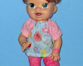 Snackin Sara, Baby Alive, Pinks Baby Blue , Top. Shorts, Caterpillar,Bee, Butterfly, Flowers, Fits 15 16 Inch Doll,   Doll Clothes