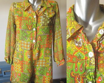 Vintage 60s Yellow/Orange/Green Long Sleeve Linen Paisley Button Down Romper