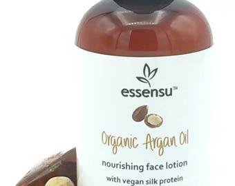 Organic Argan Oil Silk Protein No Gluten Nourishing Face Lotion | Sensitive Skin | Natural Luxury Formula | Unscented | No Parabens - 4 oz