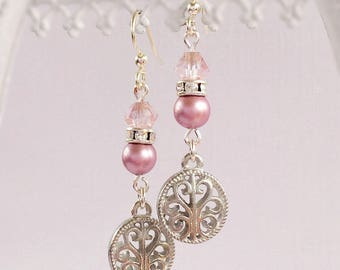 Dangle Earrings - Pink - Victorian Jewelry - Silver - La PETITE PINK