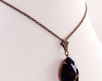 Pendant Necklace - Black - Victorian Necklace - Romantic - VERSAILLES Jet