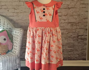 Little Girl Dress with Flamingos Size 5/6 // Tea Party Dress // Birthday Dress // Family Photos // Gifts for Girls