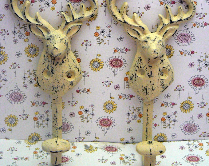 Deer Head Pair of Hooks Antlers Rack Cast Iron Cream Off White Shabby Chic Cabin Hunter Rustic Man Cave Decor
