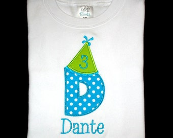 Custom Personalized Applique BIRTHDAY HAT Initial with Number and NAME Shirt or Bodysuit - Turquoise with White Polka Dots and Lime Green