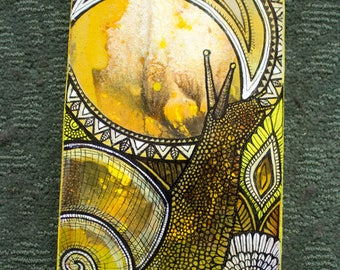 Original Garden Snail Painting by Artist Lynnette Shelley