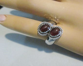 Garnet Two Cabochon Bypass Ring Size 5 Sterling Silver