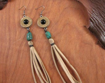 Tassel Earrings - Shoulder Dusters - Bullet Jewelry - Boho Western Style 20 Gauge Long Deerskin Lace Duster Dangle Earrings