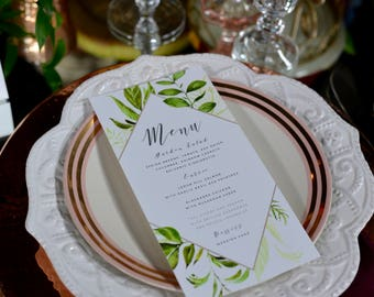 Greenery Design Single-Sided Wedding Menus - Digital File Only
