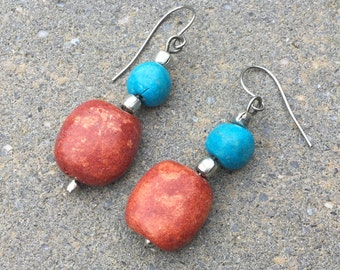 Faux Turquoise and Coral Stone Dangle Pierced Earrings - Silver tone