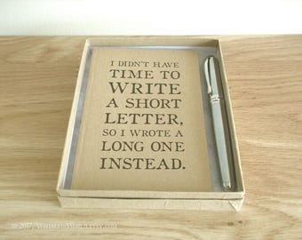 Long Letter Notebook Gift Set - gift boxed with fountain pen & optional gift bag