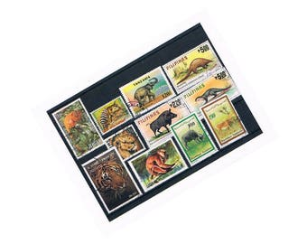 Wild Animal Stamps | lion, tiger, elephant, monkeys etc - vintage world wildlife postage stamps | ephemera for paper craft, collage, upcycle
