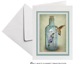 Art Greeting Card | Fairy Greeting Card | Hummingbird Greeting Card | Fairy & Hummingbird | Blank Card | Not Long Now
