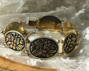 Darling Faux Damascene Black Gold Tone Rhinestone Oval Link Bracelet Unsigned 1960's 1970's Green Red Blue Flower Motif Totally Shabby Chic