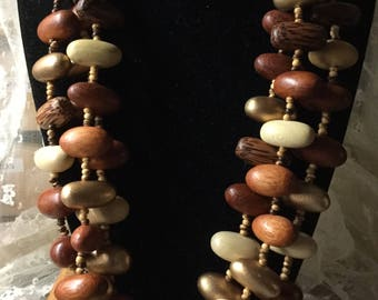Tropical Wood Nugget Bead Multi Strand Necklace Unsigned 1980's 1990's Brown Beige Beads Seed Beads Three Strands Earthy Natural Feminine