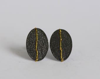 Oxidised Silver oval disc earrings studs stitched with embroidery thread