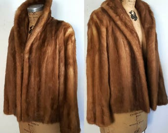 Mink Coat Jacket / mocha brown fur Small