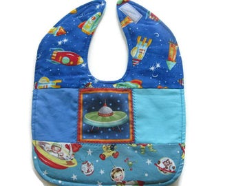 Patchwork Space Ships Baby Bib - Retro Rocket Ship Baby Bib - Outer Space Baby Bib - Quilted Baby Bib - Ready To Ship