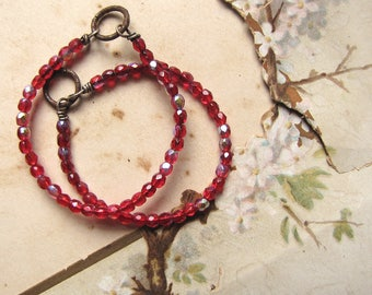 red beaded hoop earring findings - tiny sparkling glass beads on sterling silver - handmade supplies