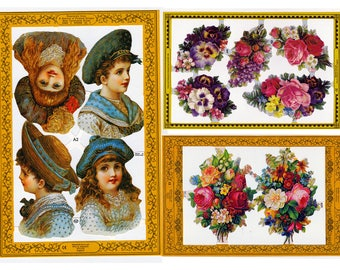 embossed flower die cuts, victorian style scrap, scrapbooking children, vintage ephemera, Madam Tussauds lithograph die cuts, paper cut outs