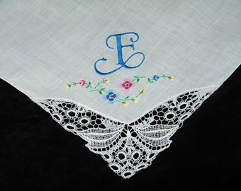"Vintage Something ""Blue"" on White Monogrammed Monogram ""E"" Hand Embroidered Lace Brides Wedding Handkerchief, Hankie, Hanky - 1082"