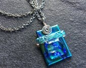 Architectural Dichroic Glass Pendant in Blue Green and Seafoam...