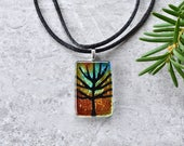 Tree Etching on Sunset Dichroic Glass