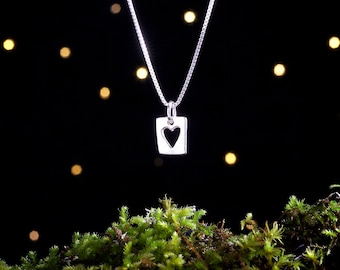 Sterling Silver Heart Cutout - Small - (Charm, Necklace, or Earrings)