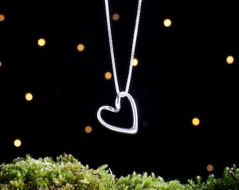 Sterling Silver Ribbon Heart - 3D - (Pendant or Necklace)