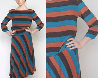 rosemund -- vintage 80s silk striped set by saks fifth avenue - size S