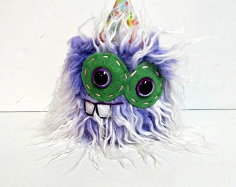 Monster Plush - Handmade Minor Monster Plushie - Curly Purple Faux Fur - OOAK Mini Monster - Small Monster Plush - Weird Monster Soft Toy