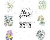 2018 wall calendar, Watercolor 2018 calendar, New year 2018 organizer, Flower calendar, Office decor, Watercolor illustration, Cute calendar
