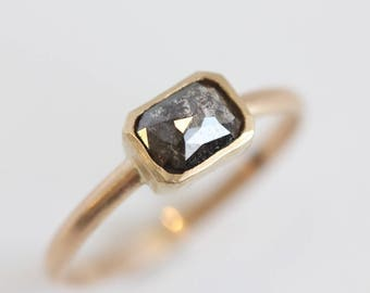 Grey Black Salt and Pepper Diamond Engagement Ring in 14k Yellow Gold - Rose Emerald Cushion Cut - Boho Engagement Ring - One of a Kind