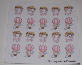 20 Happy Free Unicorn Stickers / Dancing Stickers / Hot Air Balloon Stickers
