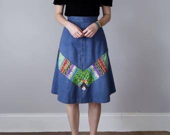 70s skirt / patchwork chevron stripe denim blue jean cotton aline high waist (xs - s)