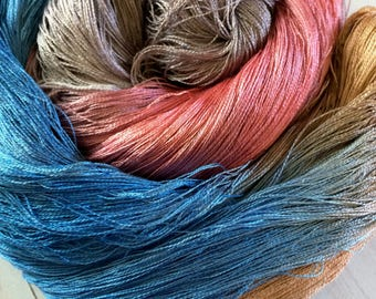 """100% Hand Dyed Mulberry Silk 60/2 Lace Weight Yarn, Weaving, Knitting, Crochet, """"Salmon in River"""" Cobweb Lace"""