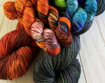 "8 Ply Hand Painted Sock, Fingering, Shawl Yarn, Fingering Weight Yarn kit, Speckled Yarn ""Night Wings Kit"" U.S. Superwash Merino/Nylon 90/10"