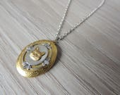 cat locket // brass cat necklace