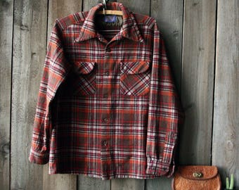 Wool Pendleton Shirt Plaid Browns and Rust Vintage 70s From Nowvintage on Etsy