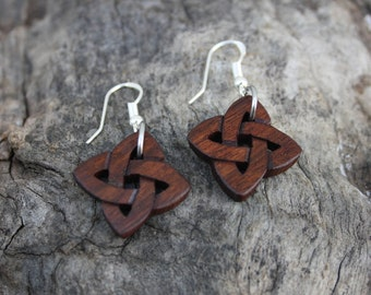 Celtic Love Knot Earrings, Hand Carved Rosewood Celtic Knot Earrings, Unique Wood Anniversary Gift, Made In Ireland, Eternal Love Gift