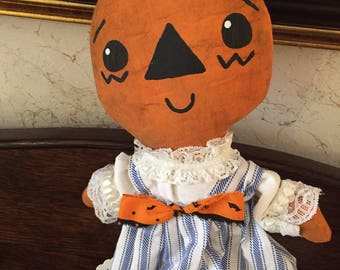 HALLOWEEN~PIXIE~PUMPKIN~Girl~Doll~ Cute~As~Ever~Blue~And~White~Striped~Dress~Bow~On~Dress~Handmade~All~Freehanded~Lace~Blouse~Primitive~
