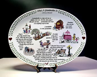 Oval Platter, Grandmother Plate, What A Grandmother Is, Mother's Day Gift, Keepsake Gift, 1983 Second Ed. Grandma Gift, Ceramic Platter