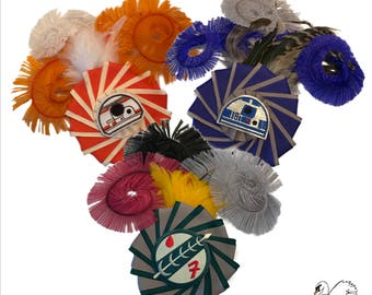 SALE!!! Star Wars Inspired Pinwheel Feather Hair Clips