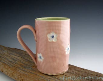 Pottery Mug with Old Hawaiian Style in Pink and Lime - Coffee Mug - by DirtKicker Pottery