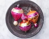 3 Vintage Mercury Glass Christmas Ornaments / Mixed Lot / Parachute Ornaments / Mid Century Holiday Decor