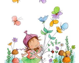 Caraway Star's Butterfly Bouquet - Brunette Fairy  - Fairy Art - Art Print